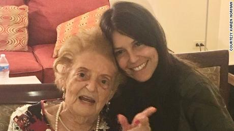 Karen Norman with her great-aunt, known as Fella and who died in December at the age of 103.