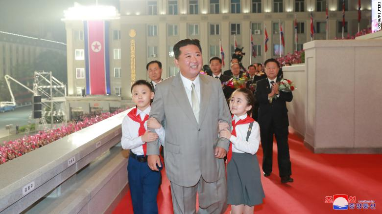 North Korea leader Kim Jong Un attends a military parade held to mark the 73rd founding anniversary of North Korea in Pyongyang in this undated image supplied by North Korea's Korean Central News Agency on September 9, 2021.