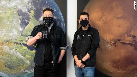 Jared Isaacman visits SpaceX and meets with Elon Musk before the mission is announced in February 2021.