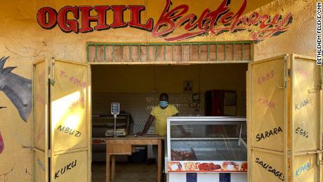 Gabriel Mradrai in his now virtually empty butcher shop in Bura