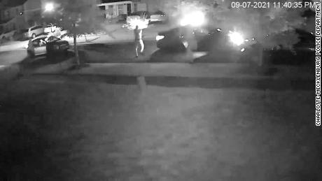 An image from the surveillance footage released by police showing the attack in Charlotte.