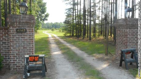 """""""Keep Out"""" signs marked one entrance to the Murdaugh family property in Islandton, where a double homicide occurred."""