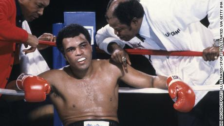 Ali sits in his corner during his loss to Larry Holmes in 1980.