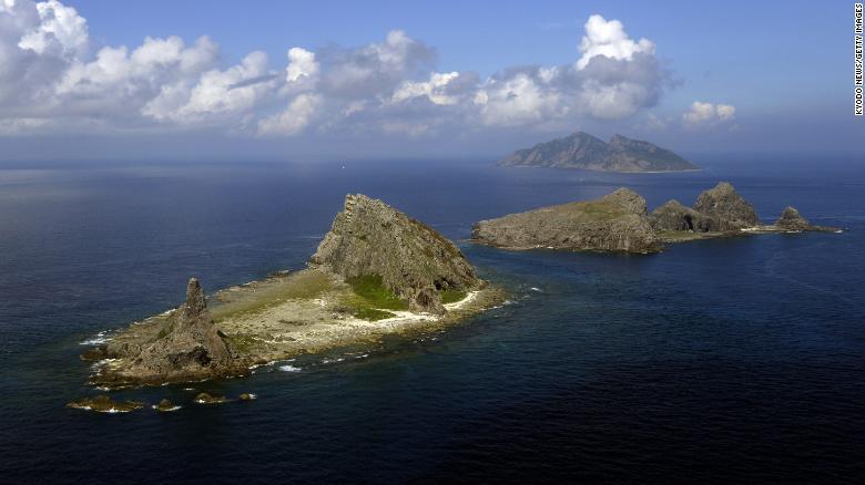 Minamikojima, Kitakojima and Uotsuri islands, part of the five main islands in the Senkaku group in the East China Sea, on September 11, 2013.