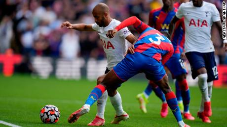 Tottenham's Lucas Moura dribbles against Crystal Palace in the two teams' Premier League game on September 11.