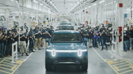 Rivian's first production vehicle for customers leaves its Illinois factory.