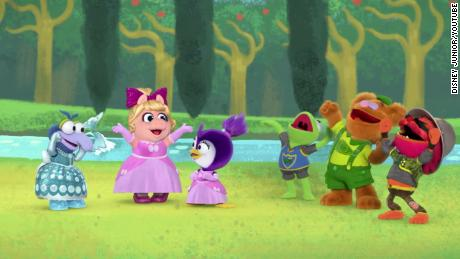 Gonzo's longtime friends accept her when they reveal that she was dressed as a princess in Muppet Babies;  ball.
