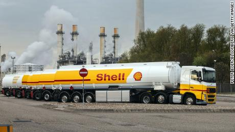 A Royal Dutch Shell fuel tanker at the Shell Pernis refinery in Rotterdam, Netherlands, in April 2021.