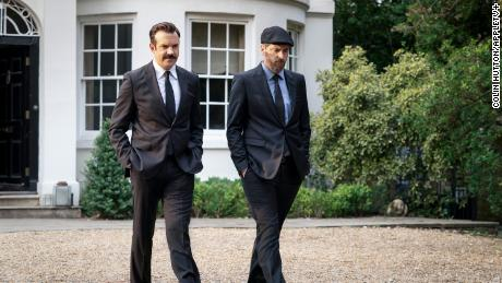 """Jason Sudeikis and Brendan Hunt """"ted lasso""""  season two, episode 10 """"No Weddings and a Funeral"""""""