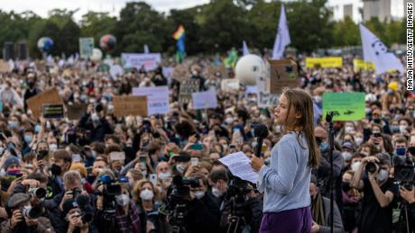 Thunberg speaking at a youth climate march in Berlin on Friday.