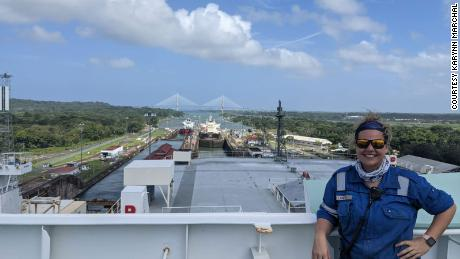 Karynn Marchal, chief officer, pictured on board her vessel in January 2021 in the Panama Canal.