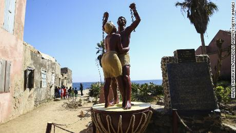 A statue at Goree Island in Senegal, known for being a center of the Atlantic slave trade from the 15th to the 19th century. The site is now a museum.