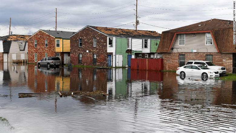 Flooded homes in LaPlace, Louisiana, in the aftermath of Hurricane Ida.