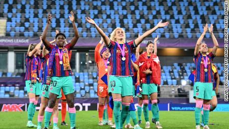 History maker: Oshoala celebrates as Barcelona crush Chelsea 4-0 to win Women's Champions League