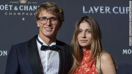 Zverev and Sharypova pose on the red carpet at Gala night during the Laver Cup in Geneva, Switzerland, in 2019.