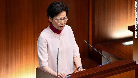 Hong Kong Chief Executive Carrie Lam at the Legislative Council on October 6.