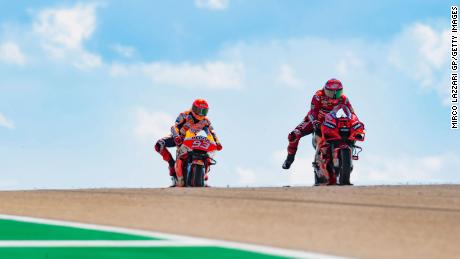 Marc Marquez and Repsol Honda of Bagania Spain lead the team during the MotoGP of Aragon at the Motorland Aragon Circuit on September 12, 2021 in Alcaniz, Spain.