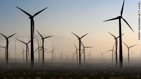 Wind turbines generating electricity at the San Gorgonio Pass Wind Farm near Palm Springs, California.