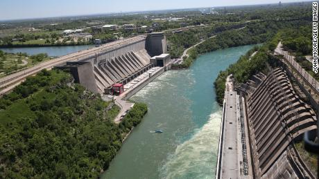 Water from the Niagara River passing through a hydroelectric dam the Robert Moses Generating Facility in Lewiston, New York.