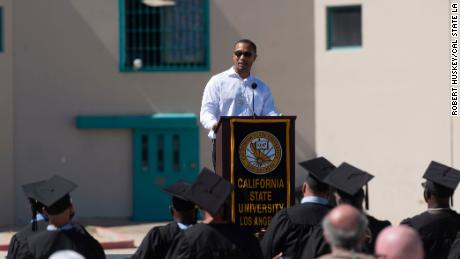 Allen Burnett speaking at the graduation ceremony at California State Prison, Los Angeles County (LAC) on October 5, 2021.
