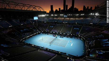 Rod Laver Arena as Rafael Nadal competes against Stefanos Tsitsipas in the Quarterfinals of the 2021 Australian Open.