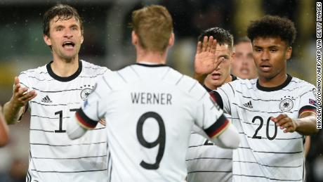 Werner (center) celebrates his first goal against North Macedonia.