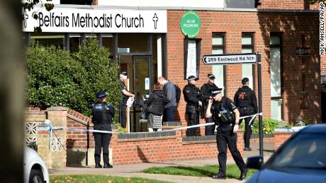Emergency services at the scene near the Belfairs Methodist Church, where David Amess was stabbed in Leigh-on-Sea, Essex.