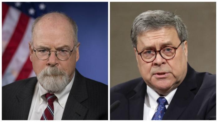 U.S. Attorney John H. Durham and U.S. Attorney General William Barr. (Getty Images)