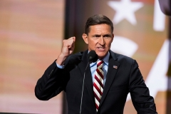 Retired Lt. Gen. Michael Flynn delivers a speech on the first day of the Republican National Convention on July 18, 2016 in Cleveland, Ohio. (Photo by Brooks Kraft/ Getty Images)