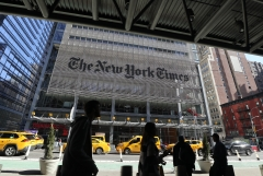 The New York Times bureau is seen from outside. (Photo credit: Gary Hershorn/Corbis via Getty Images)