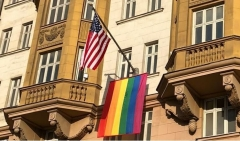 Homosexual rainbow flag draped from U.S. Embassy in Moscow. (U.S. State Department)