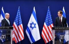 Israeli Prime Minister Binyamin Netanyahu and White House senior adviser Jared Kushner in Jerusalem on Sunday. (Photo by Debbie Hill/Pool/AFP via Getty Images)