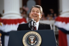 President Ronald Reagan, campaigning for a second term of office, smiles during a rally speech at the California State Capitol the day before the 1984 presidential election. (Photo credit: © Wally McNamee/CORBIS/Corbis via Getty Images)