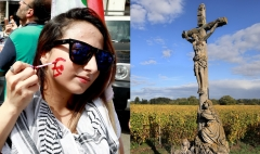 Featured is a sickle and hammer face paint and a crucifix in a field. (Photo credit: ANWAR AMRO/AFP via Getty Images and David Silverman/Getty Images)