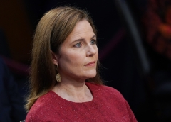 Judge Amy Coney Barrett listens during her confirmation hearing. (Photo credit: KEVIN DIETSCH/POOL/AFP via Getty Images)