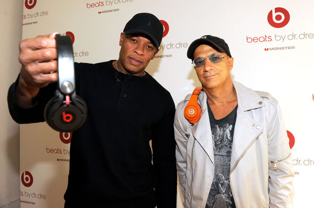 Dr. Dre and Jimmy Iovine wear Beats by Dre