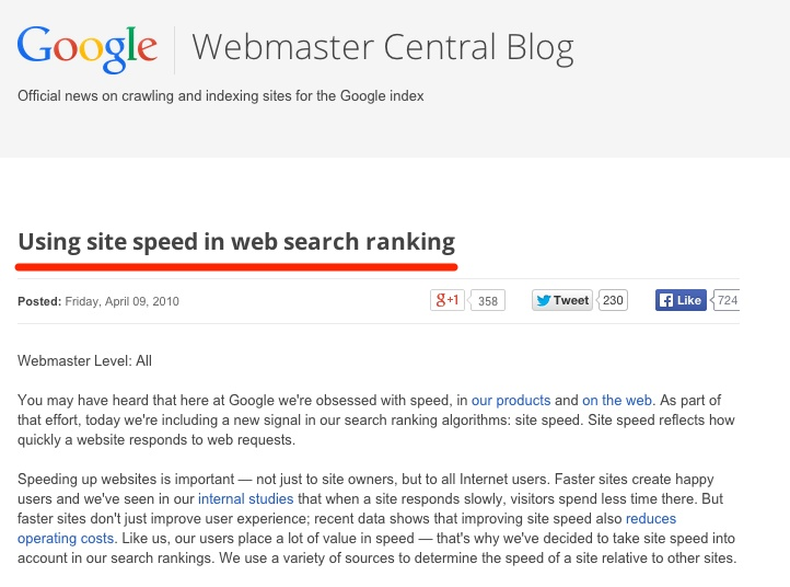 Google Webmaster Blog Site Speed Ranking Factors
