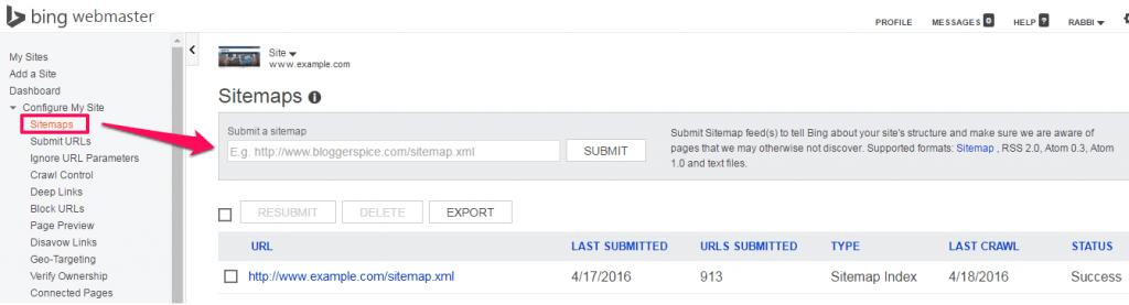 Bing Sitemaps-listing