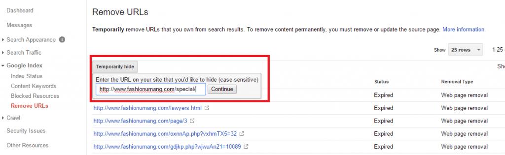 Remove URL in Search Console