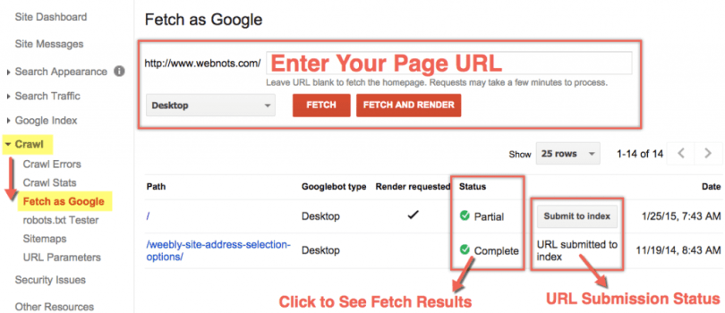 Fetch as Google in Google Webmaster Tools