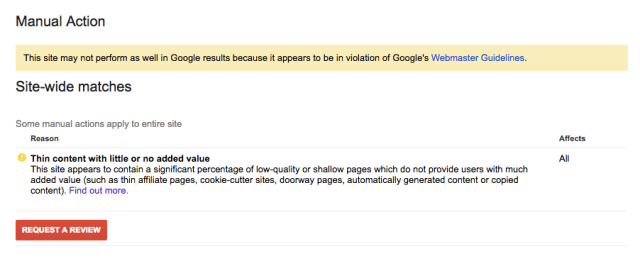 thin content search console warning