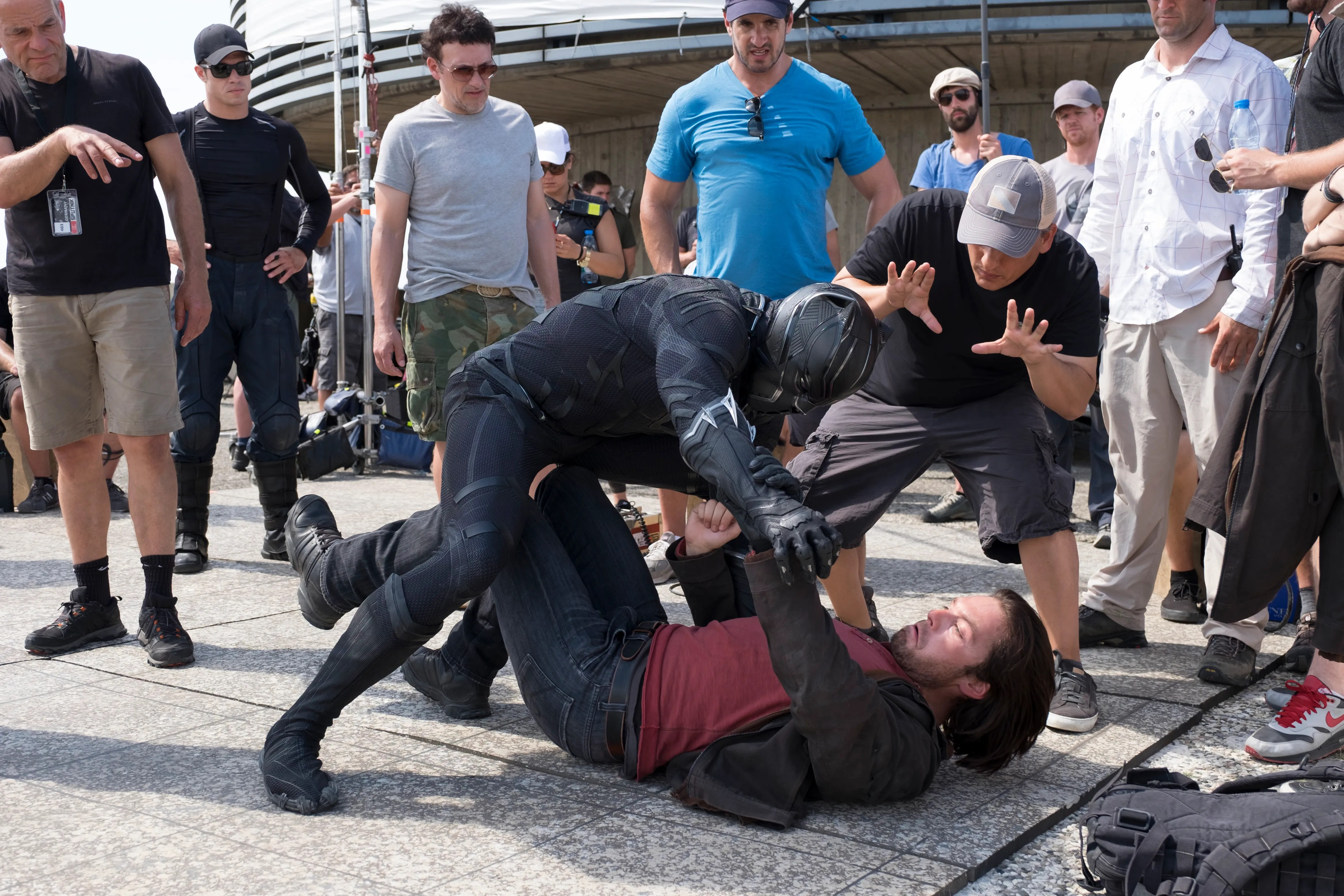 Image result for the russo brothers captain america civil war set