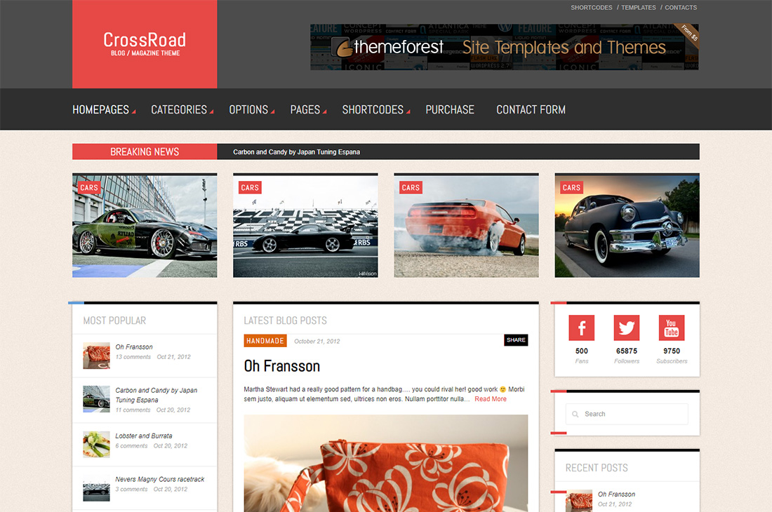 Revista de autos de crossroad temas de wordpress