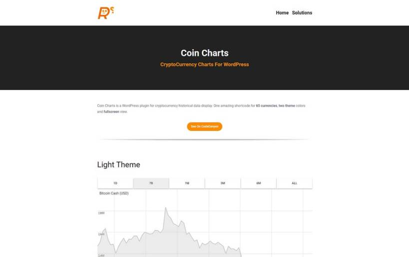 coin charts cryptocurrency wordpress plugin