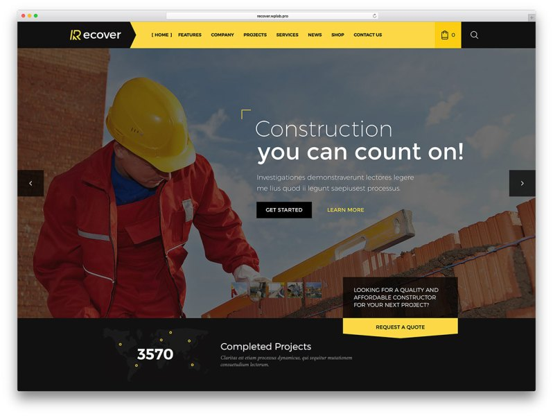 46 Best Construction Company WordPress Themes 2018   colorlib recover construction company website wp template