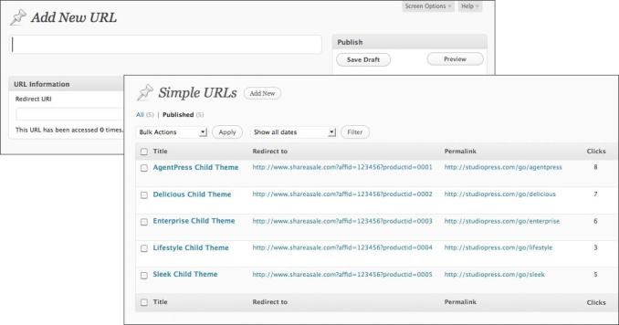 simple urls outbound links wordpress manager