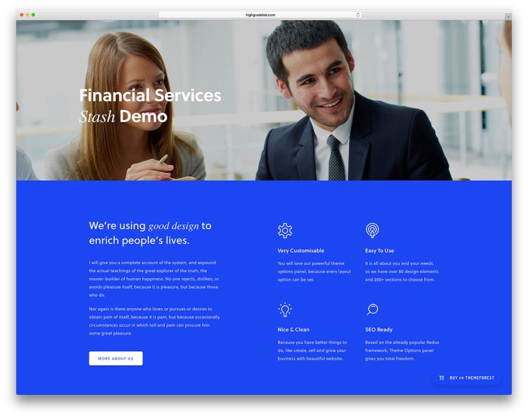 20 Best Financial Company WordPress Themes 2018   colorlib Stash is a diverse and packed WordPress theme  essentially made to be a  block builder that relies on Visual Composer  It is also Bootstrap based  and