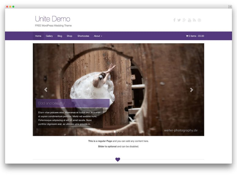 Unite ─ Free WordPress Wedding theme