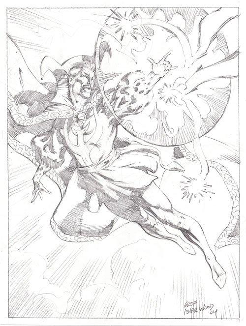 Doctor Strange, pencil art by Geof Isherwood
