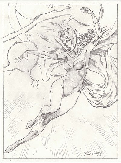 The Scarlet Witch (classic costume), pencil art by Geof Isherwood